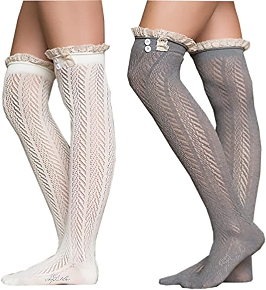 2 Pack of Women's Lace Pantyhose Stockings