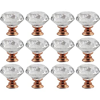 HQdeal Furniture Cabinet Knobs Drawer Knobs Pull Handle for Home Decorating Kitchen Office Wardrobe Dresser Knobs 8pcs 40mm Rose Gold Diamond Crystal Glass Door Knobs with Alloy Screw