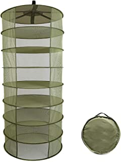 Goolsky 8 Layers Hanging Basket Folding Drying Rack Herb Dry Net Opening Shape Dryer Bag Mesh 600mm Diameter For Herbs Flo...