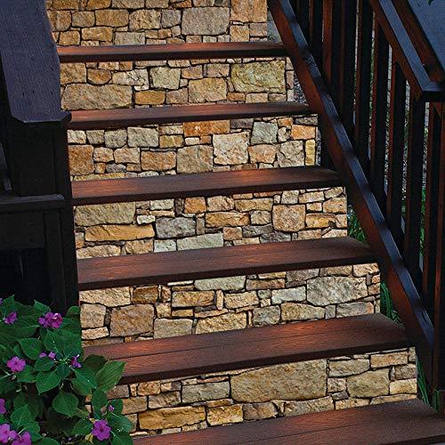 GVRPV Pegatinas para escaleras6 Piezas Creativas DIY 3D Pegatinas de Escalera patrón de baldosas de cerámica para decoración de escaleras de habitación decoración del hogar Pegatina de Pared de Suelo