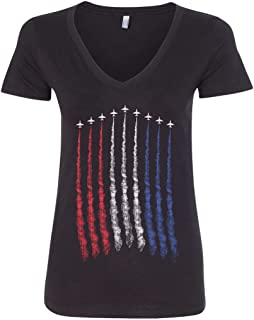 Threadrock Women's Red White Blue Air Force Flyover V-Neck T-Shirt