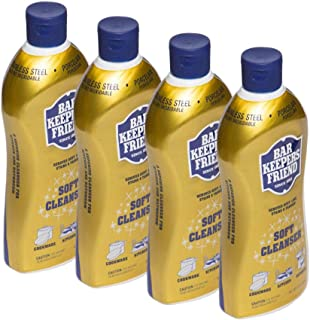 Bar Keepers Friend Soft Cleanser Liquid 13 oz Multipurpose Cleaner & Rust Stain Remover for Stainless Steel Sinks and Countertops, Porcelain and Ceramic Tile, Copper, Brass, and More (4)