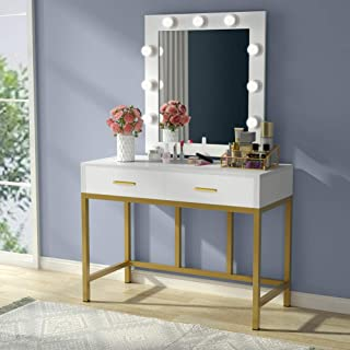 Tribesigns Vanity Table with Lighted Mirror, Makeup Vanity Dressing Table with 9 Lights and 2 Drawers for Women, Dresser Desk Vanity Set for Bedroom, Gold and White