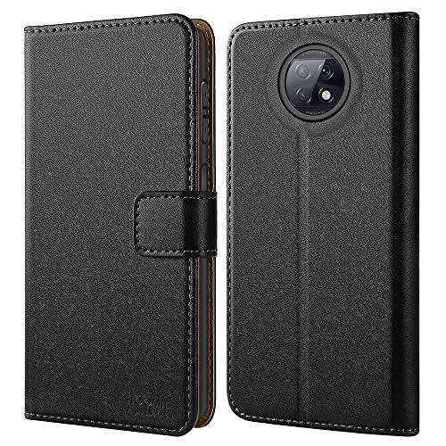 HOOMIL Handyhülle für Xiaomi Redmi Note 9T Hülle Leder Tasche Flip Hülle Schutzhülle Schwarz