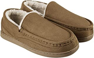 FUNKYMONKEY Men's Micro Suede Moccasin Slippers with Warm Wool Lining House Shoes for Indoor/Outdoor