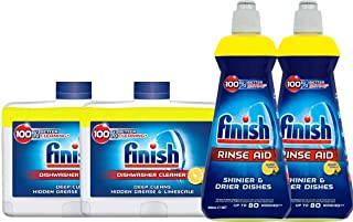 Finish Dishwasher Cleaner and Rinse Aid, Multipack, Lemon, 2 x Dishwasher Cleaners, 2 x Rinse Aids