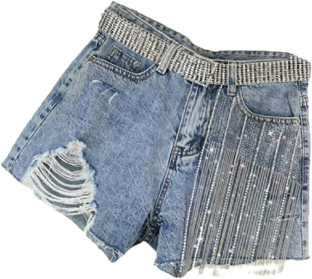 Female Hole Denim Shorts Slimming Hot Drilling Fringed Ripped Wide Leg Shorts