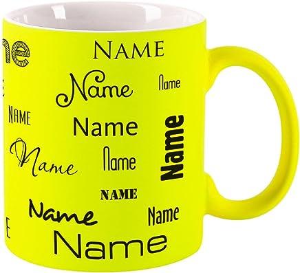 Preisvergleich für Herz & Heim® Neon Tasse mit Namen - Farbe Gelb - Aufdruck des Namens in verschiedenen Schriftarten