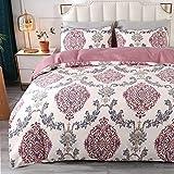 Qucover Pink Damask Duvet Cover Set Paisley Floral Pattern Print Comforter Covers Damascus Breathable Flower Bedding Set for Kids Girls