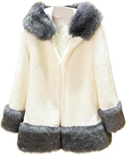 Ausexy Women Long Sleeve Parka Outwear Winter Fox Fur Coat Fashion Overcoat with hooded Snow Coat