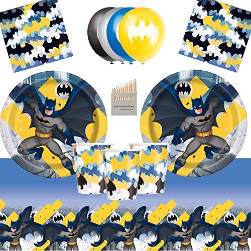 Artículos para la fiesta de Batman Dark Knight Juego de vajilla para la fiesta de cumpleaños de Batman 16- Placas de superhéroes Copas Servilletas Cubierta de mesa