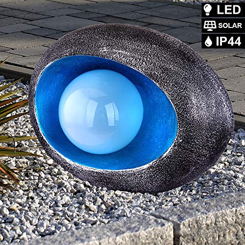 LED Solar Steh Lampe FEUER EFFEKT Kugel Außen Beleuchtung Garten Balkon Stand Lampe silber blau