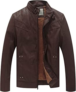Men's Stand Collar Faux Leather Warm Moto Jacket Outwear