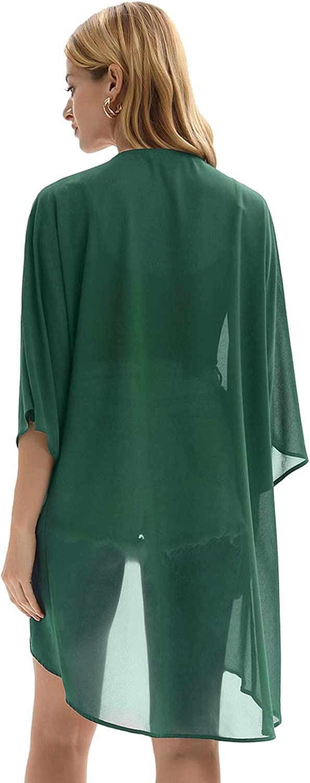 Kate Kasin Damen Basic Sommer Leicht Chiffon Cover up Mantel Bluse Tops Strand Beachwear Pareos Bolero Jacke ZZKK1244 Grün(1244-2)