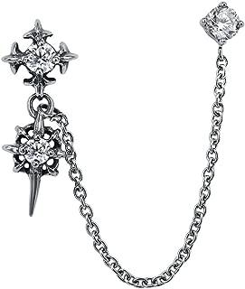 Chain Linked Upper Ear Stud Punk Sword Dangle Surgical Steel Helix Cartilage to Lobe Stud Earring