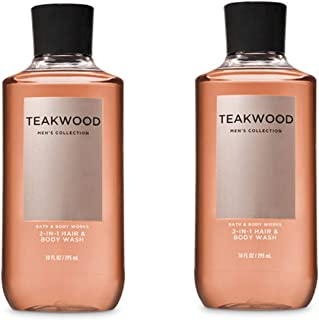 Bath and Body Works, Signature Collection Teakwood 2-in-1 Hair + Body Wash (2 Pack)