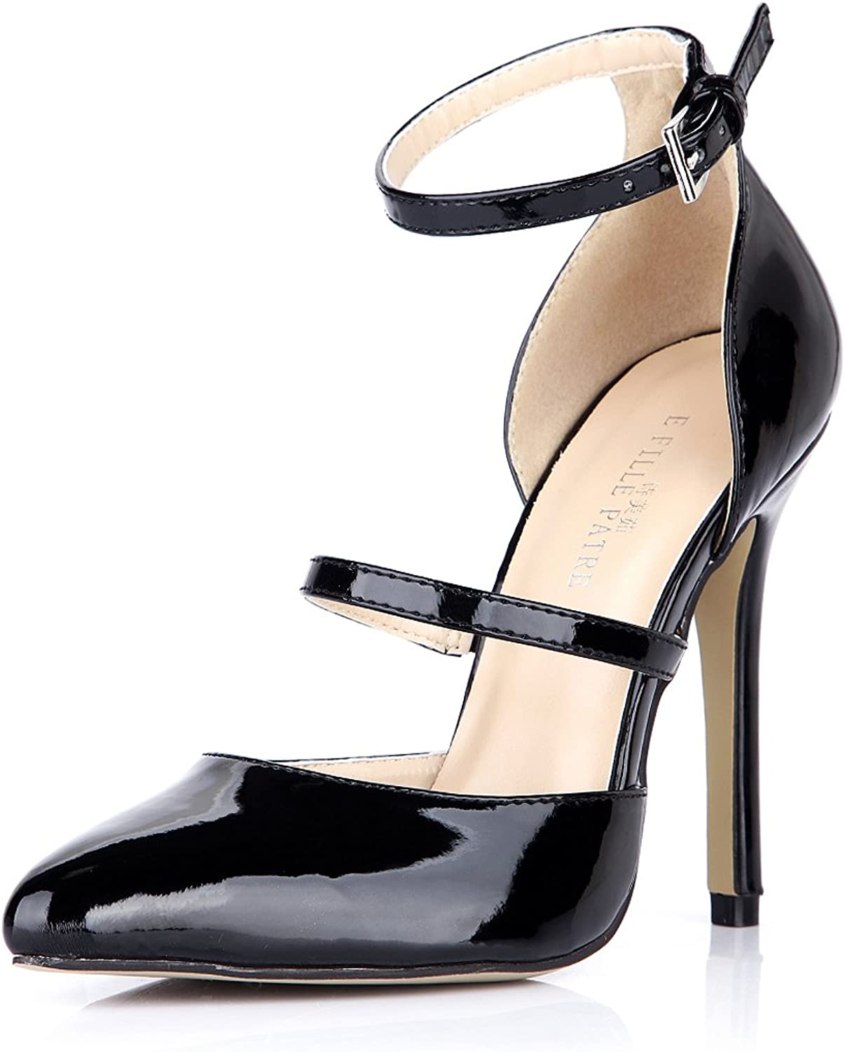 DolphinGirl Women Fashion Pointy Toe High Heels with Ankle Strap Dress Pumps Stiletto shoes SM00096