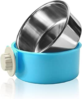 Joyoldelf Dog Bowl Feeder Pet Puppy Food Water Bowl, 2-in-1 Plastic Bowl & Stainless Steel Bowl, Mountable Cat/Rabbit/Bird/Hamster/Shitzu/Ferret Food Basin Dish Perfect for Crates