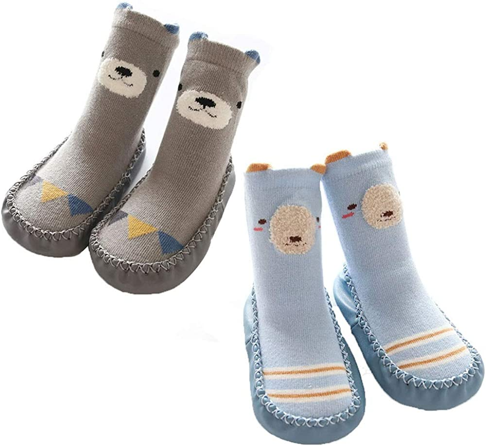 FOUR-C Toddlers Socks for Baby Boy Girl Animal Moccasins Non-Skid Indoor Slipper Winter Warm Shoes Socks