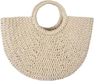FZChenrry Stroh Taschen Damen Sommer Strand Tasche Handgewebt Große Handtasche Stroh Tragetasche Sommer Schulter Geldbörse