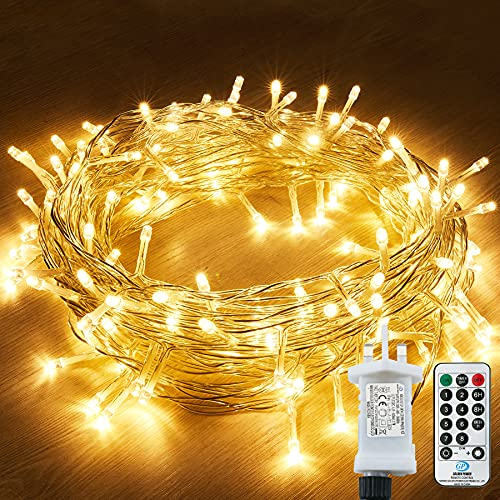 String Lights Mains Powered, 120 LED 15M/49Ft Fairy Lights Waterproof,with 8 Modes Remote Control Fairy Lights Indoor/Outdoor for Garden, Gazebo, Party, Wedding, Christmas Decorations (Warm White)