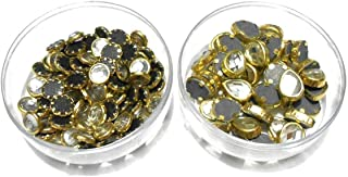 Goelx Kundans Bezels Pastable for Jewelry Making, Crafts, Apparels, and Decorations - Combo 1- Round Shape and Drop Shape