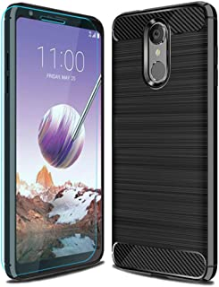 LG Stylo 4 Case with HD Screen Protector,LG Q Stylus/LG Q Stylus Plus/LG Stylus 4/LG Stylus 4 Plus Case Ucc Frosted Shield Slim Cover Carbon Fiber Design and Non-Slip Cover for LG Stylo 4 (Black)
