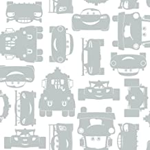 York Wallcoverings Walt Disney Kids II Lightning and Mater Wallpaper Memo Sample, 8-Inch x 10-Inch, White/Silver
