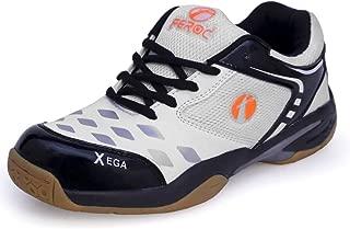 Feroc xega White Black Badminton Shoes