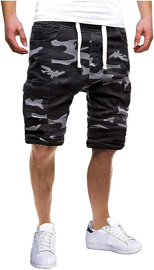 DIOMOR Mens Casual Camouflage Elastic Waist Multi Pockets Cargo Shorts Drawstring Slim Fit Beach Trunks Hiking Pants