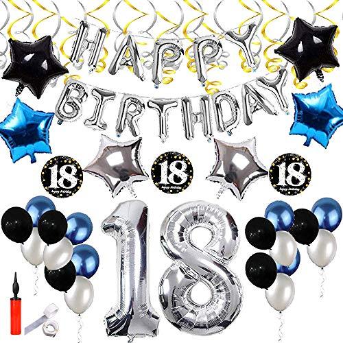 SHUIBIAN 18 Geburtstag Dekoration Silber und Schwarz und blau Dekoration Happy Birthday Ballons Happy Birthday Banner Geburtstagsdeko für Mädchen, Jungen, Frauen, Männer