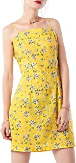 LA CHA Women's Dresses Summer Spaghetti Strap A-Line Tie Back Floral Midi Dress