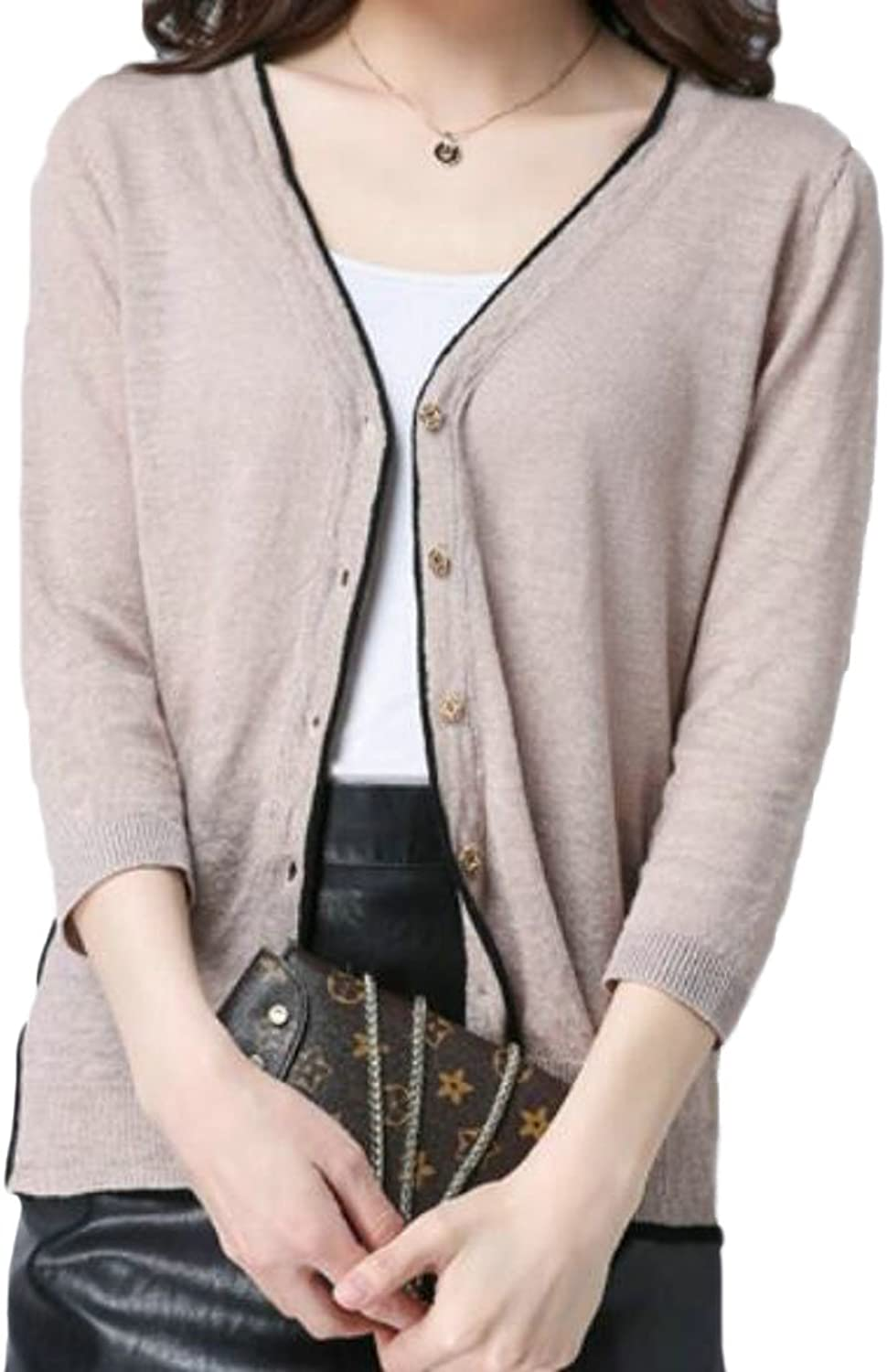 Nanquanwomen clothes NQ Women's Button up Short Cardigans Nine Points Sleeve Knit Shawl