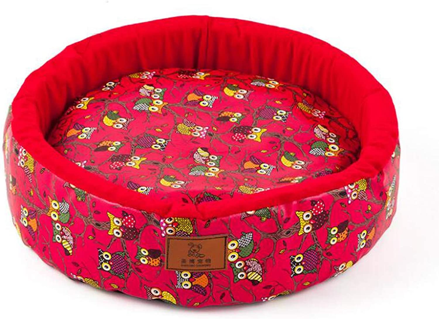 Hhrong Pet Nest Dog Cat Bed Red Printed Owl Kennel, Warm And Comfortable Pet Dog Bed Easy To Clean (color   Red, Size   L)