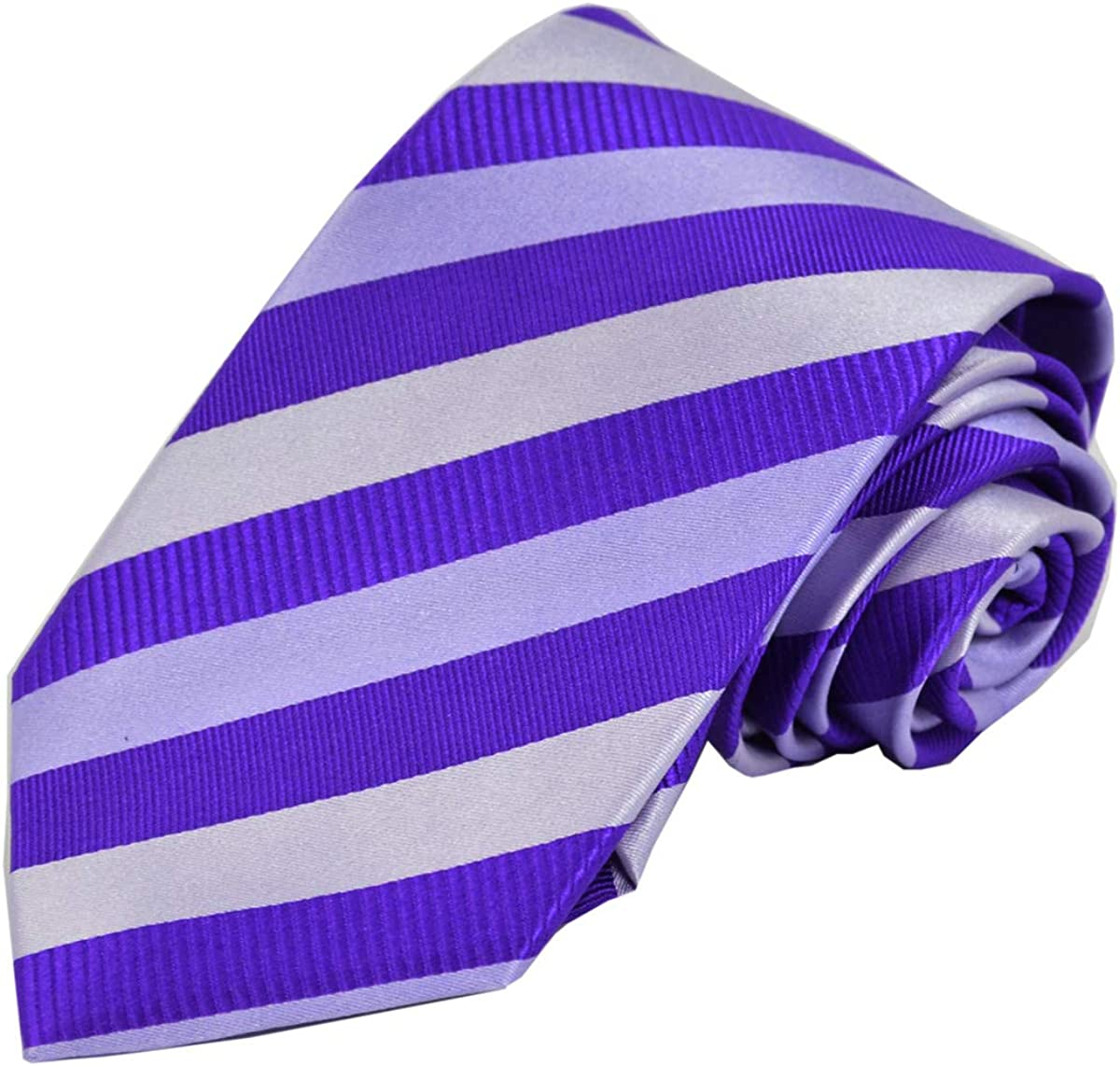 Violet Striped Silk Spring new work Tie Recommended with and Pocket Square Cufflinks