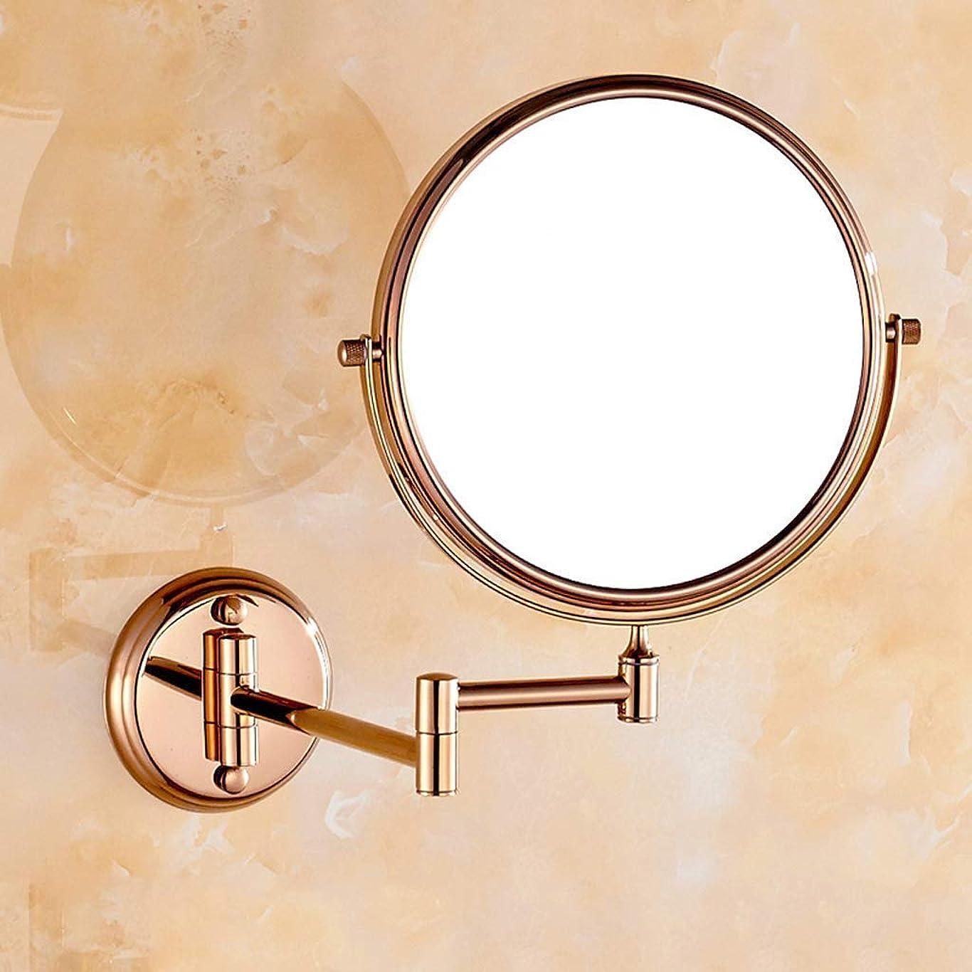 スキャンクスクス熟達美しくて明るい 化粧鏡のフルコッパーローズゴールド両面化粧鏡浴室の3倍拡大鏡ビューティミラー8インチ