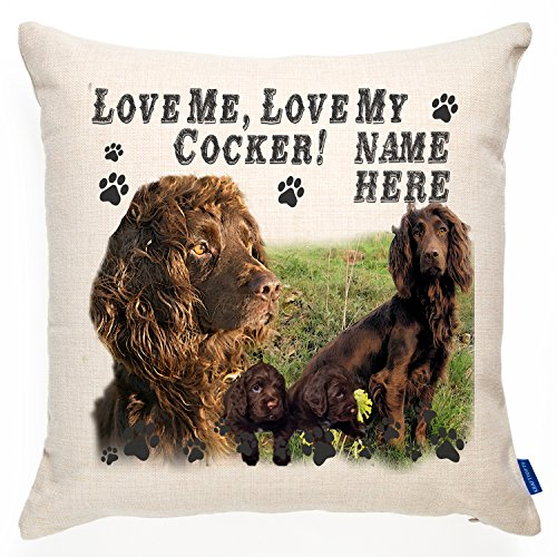 KRAFTYGIFTS Personalised Chocolate Cocker Spaniel Dog Cushion Pillow Cover | Love Quote Puppy | Terrier Pet Gift