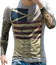 Realdo Men's Print T-Shirt Short Sleeve Blouse Tops Tee