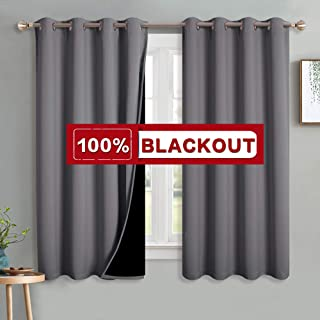 PONY DANCE Blackout Curtains for Bedroom - 100% Light Blocking Thermal Curtain Panels with Black Liner Drapes, 52-inch W x 63-inch L, 2 Pieces