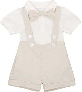 Baby Boys Formal Suit Set Short Sleeve Romper Suspenders Shorts Pants Bowtie Wedding Tuxedo Outfits Cake Smash Clothes