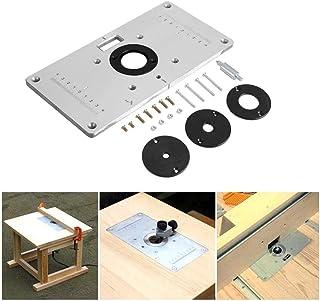 Womdee Router de Aluminio Placa de Inserción, Router Accesorios para Bancos de Carpintería con 4 Anillos, Tornillos, 23.5x12x0.8cm