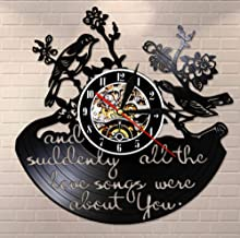 WANGXJ and Suddenly All The Love Songs were All About You Inspirational Quote Vinyl Record Wall Clock Valentine Birds Retro Wall Watch 30X30Cm