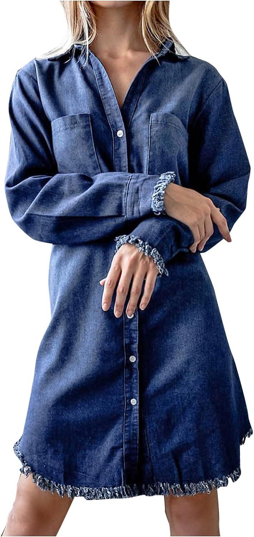 Hemlock Women Denim Dress Long Sleeve Button Down Dresses Denim Jean Dress Slim Short Dress