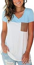liher Women's Tops Color Block V Neck Basic Casual Long Sleeve & Short Sleeve Tee Shirts