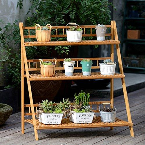 Udfybre Support de Fleurs en Bambou à 3 Niveaux Ensemble d'étagères Pliable pour Balcon Ensemble Multi-Fonctions (Taille : 100cm)