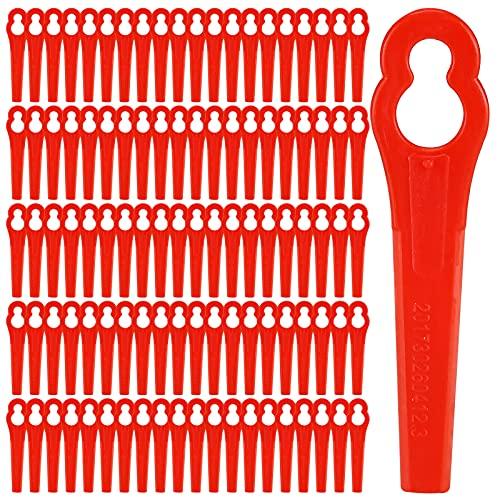 Supamz 100 Stück Rasentrimmer Ersatzmesser Kunststoffmesser Rasentrimmer Messer Rasentrimmer Klingen Kunststoff Ersatzmesser für Akku-Rasentrimmer für FRT18A FRT18A1 Kunst 46155 FRT20A1 Zubehör