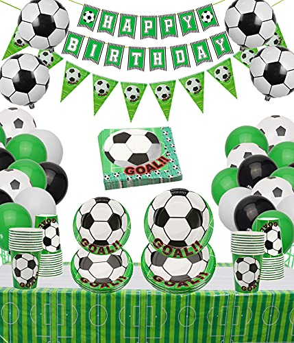 PIXHOTUL Decoración de fiesta de cumpleaños de fútbol, incluyendo platos de papel, tazas, servilletas, mantel, bandera y globos para fiestas de cumpleaños temáticas de fútbol (sirve 12)