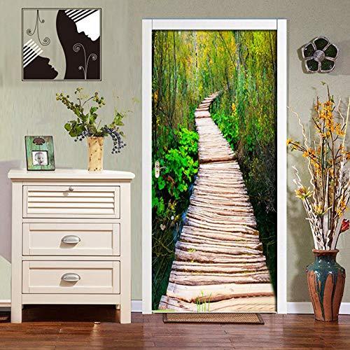biejuyige Etiqueta Engomada De La Puerta Vinilo Autoadhesivo Puente De Madera Bosque 3D Etiqueta De La Pared Mural Impermeable DIY Papel Tapiz Hogar Calcomanía A786(77X200Cm)
