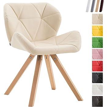 Chaise de Salle à Manger Tyler Revêtement Similicuir I Chaise de Salle à Manger Design Scandinave Rembourrés I Chaise Design Retro Pied en B,