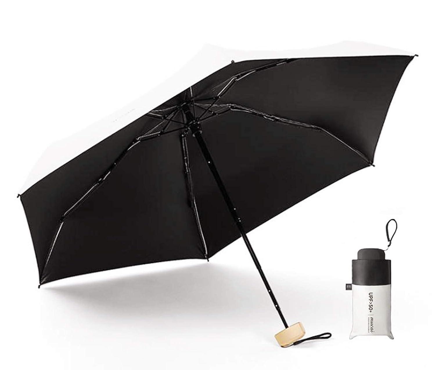キャンペーン高価なつぼみ日傘 折りたたみ 傘 梅雨対策 晴雨兼用 耐風 遮光 頑丈 携帯 手動開閉 紫外線遮断 カバー付き (ホワイト)